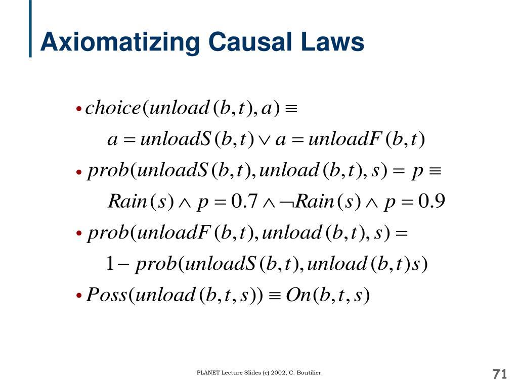 Axiomatizing Causal Laws