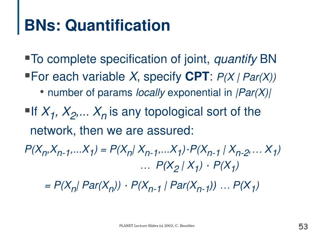 BNs: Quantification
