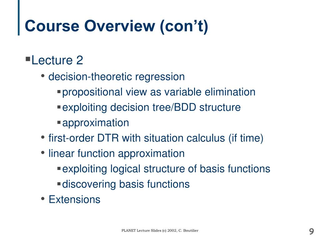 Course Overview (con't)