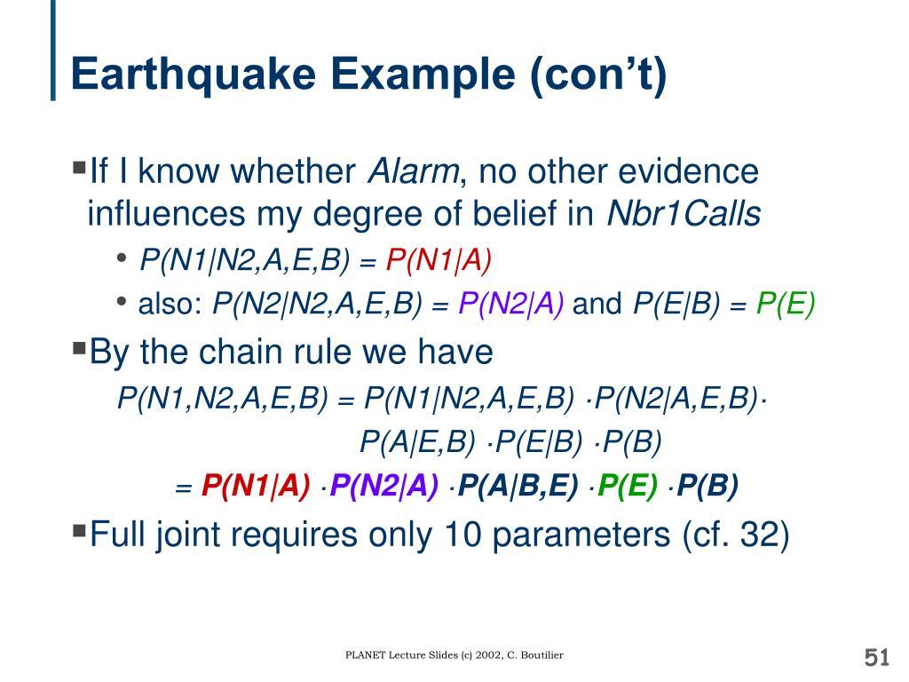 Earthquake Example (con't)