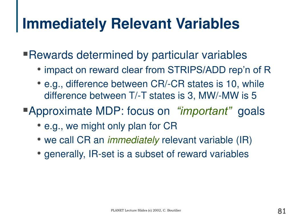 Immediately Relevant Variables