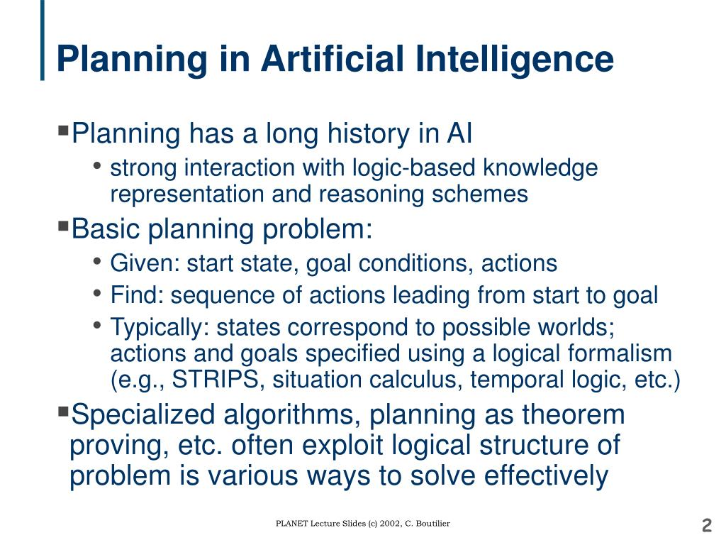 Planning in Artificial Intelligence