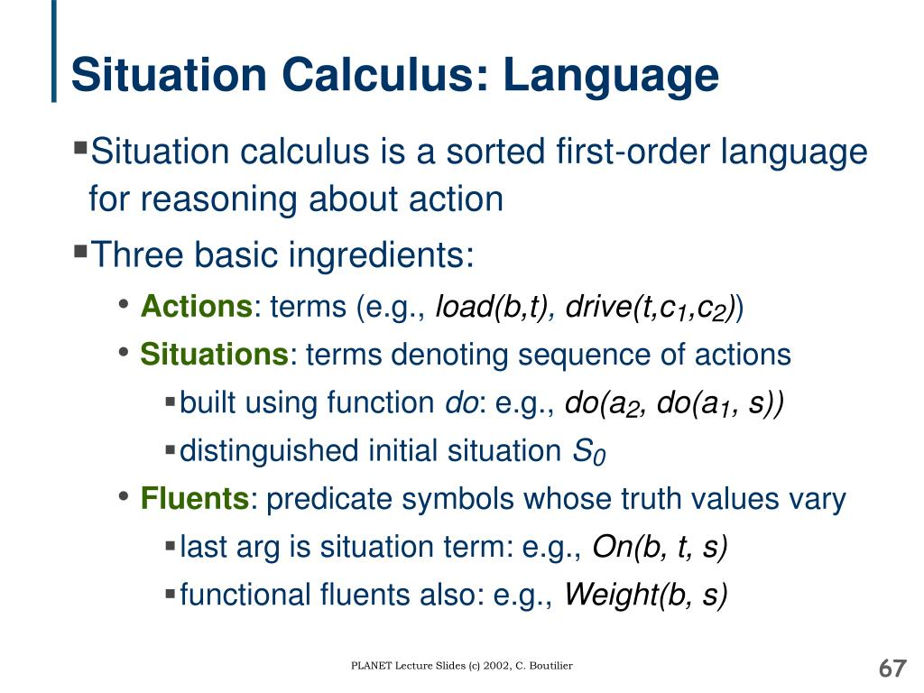 Situation Calculus: Language