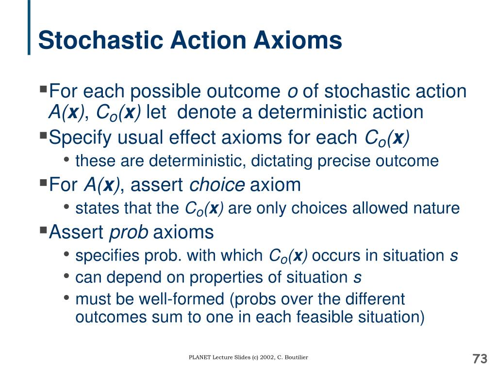 Stochastic Action Axioms