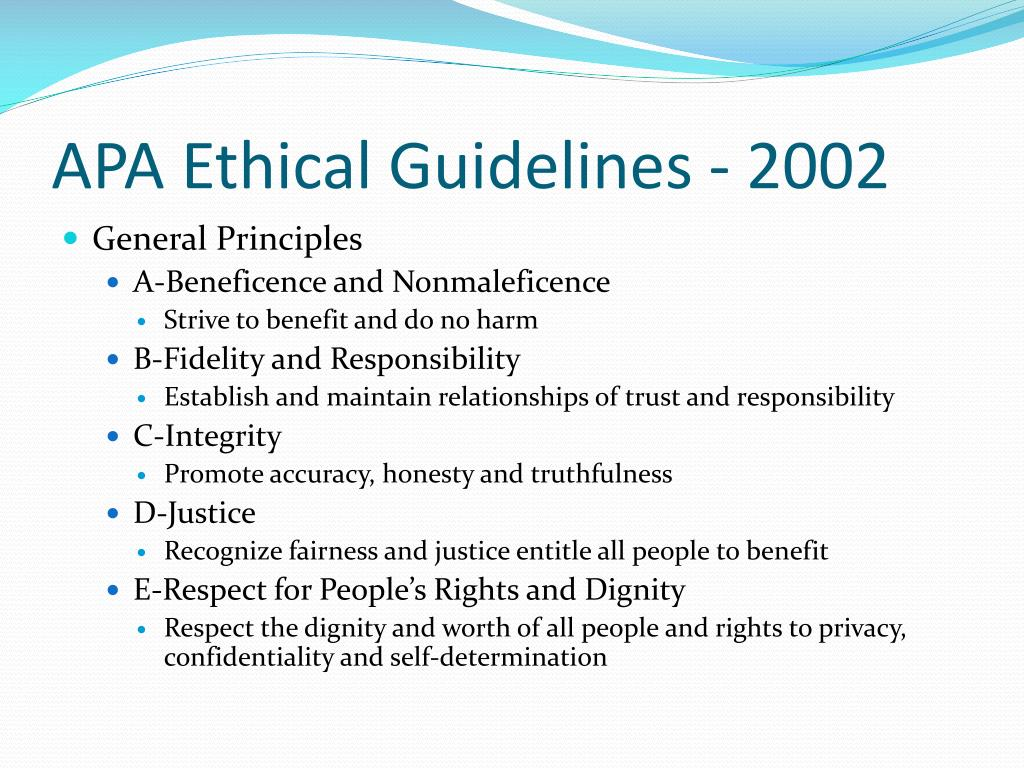 APA Ethical Guidelines - 2002