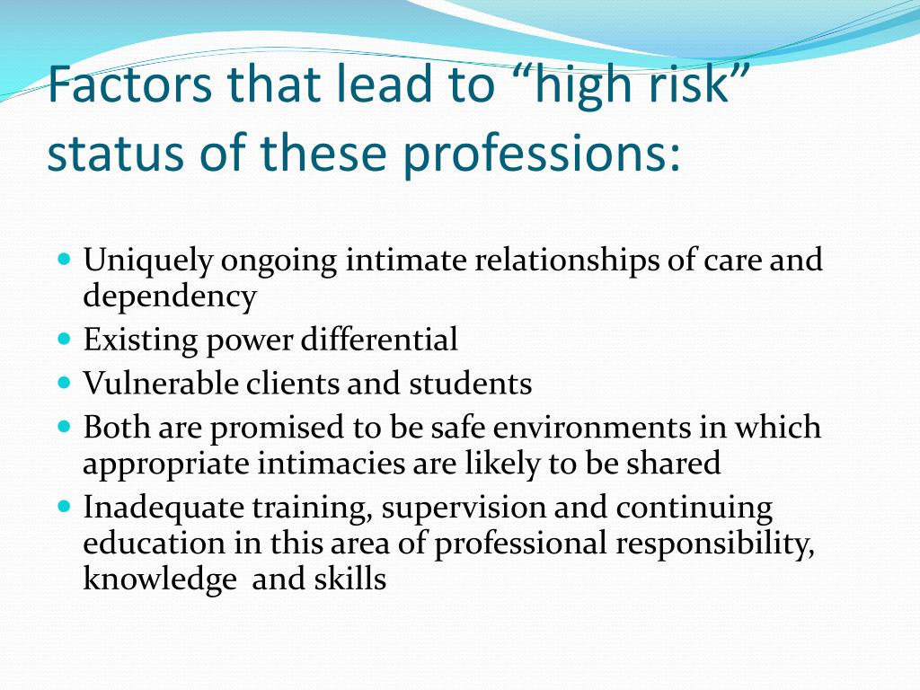 """Factors that lead to """"high risk"""" status of these professions:"""