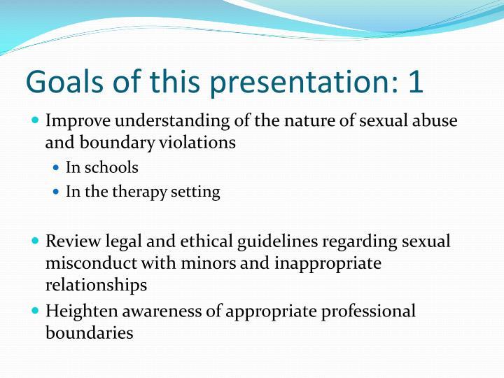 Goals of this presentation 1
