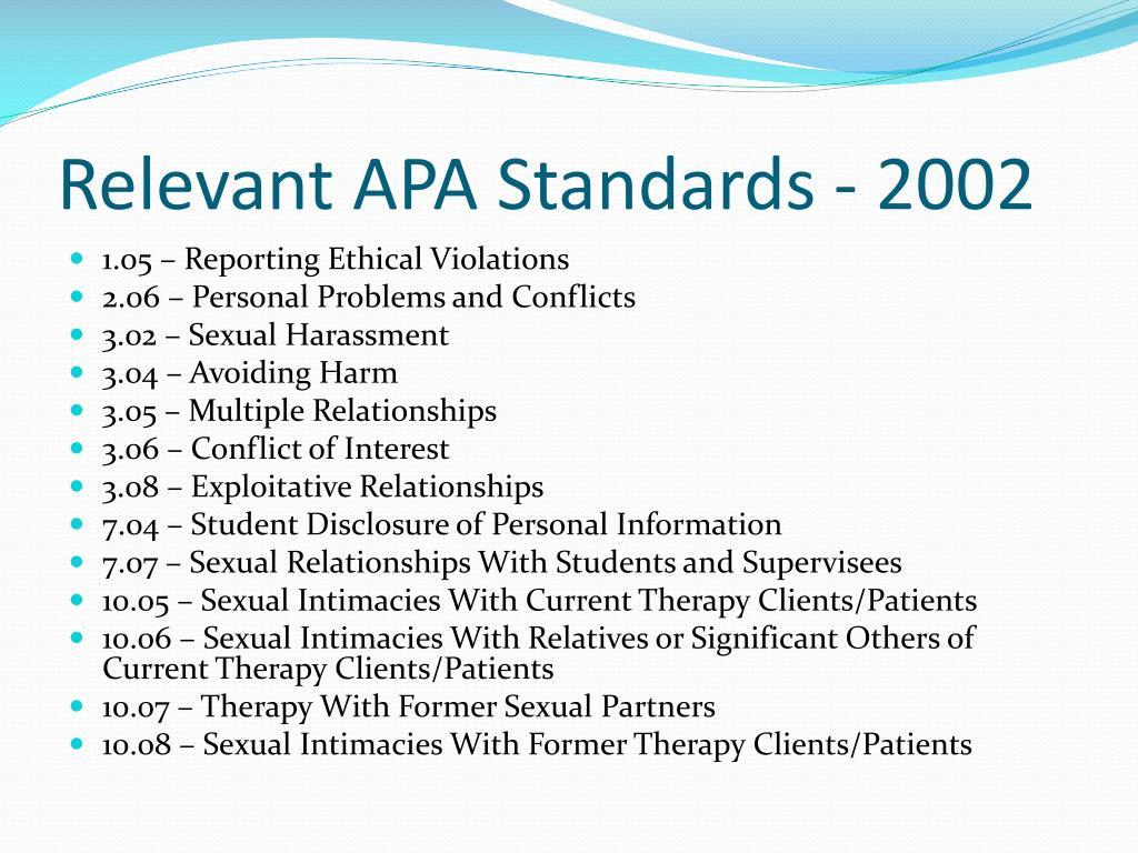 Relevant APA Standards - 2002