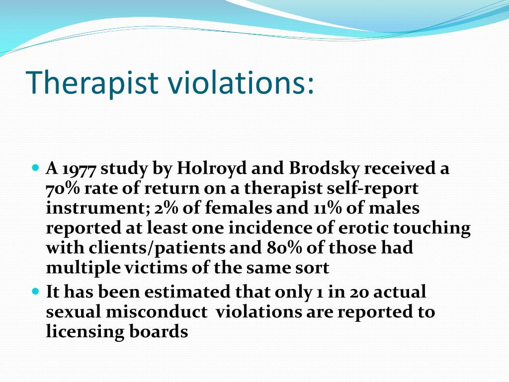 Therapist violations: