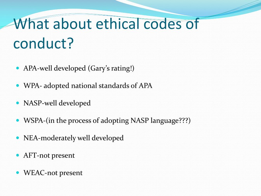 What about ethical codes of conduct?