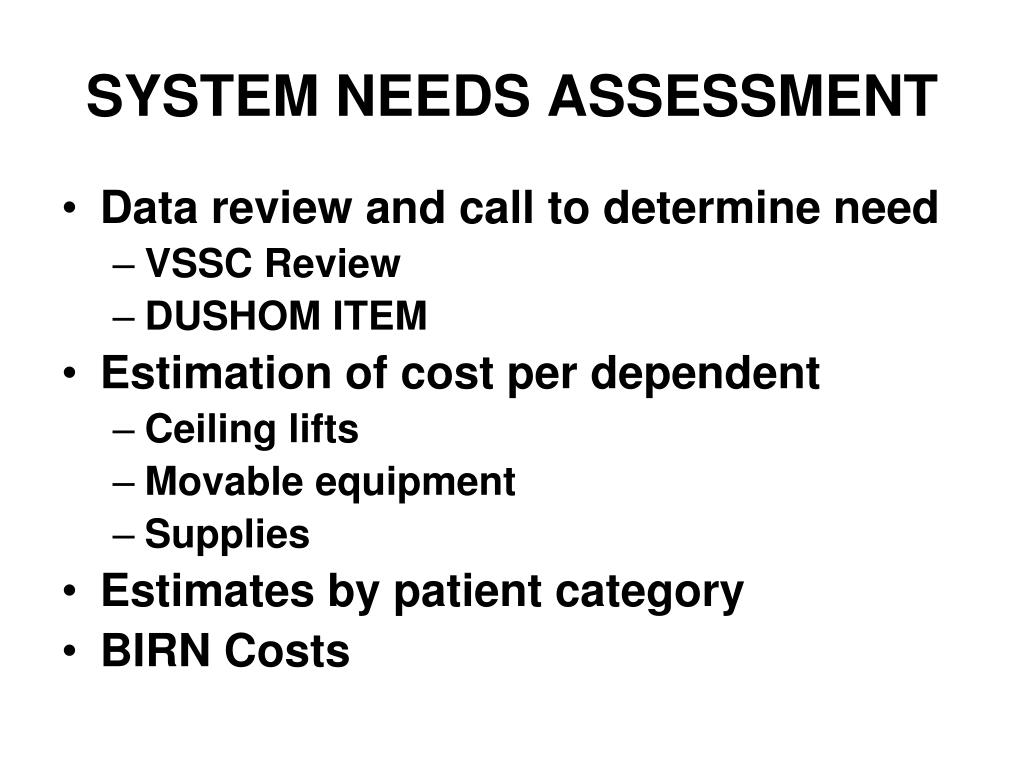 SYSTEM NEEDS ASSESSMENT