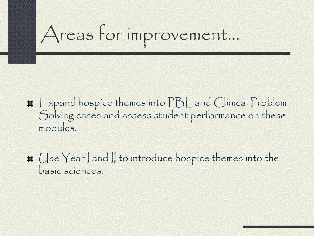 Areas for improvement…