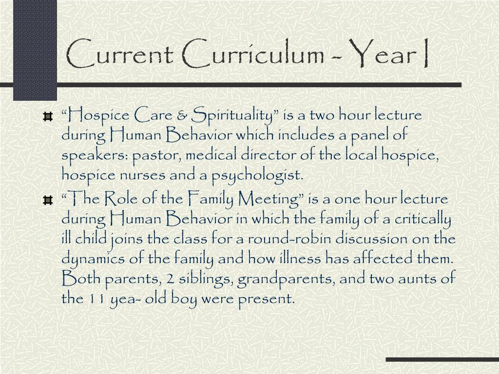 Current Curriculum - Year I