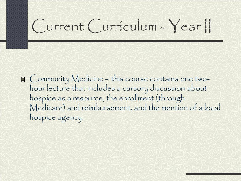 Current Curriculum - Year II