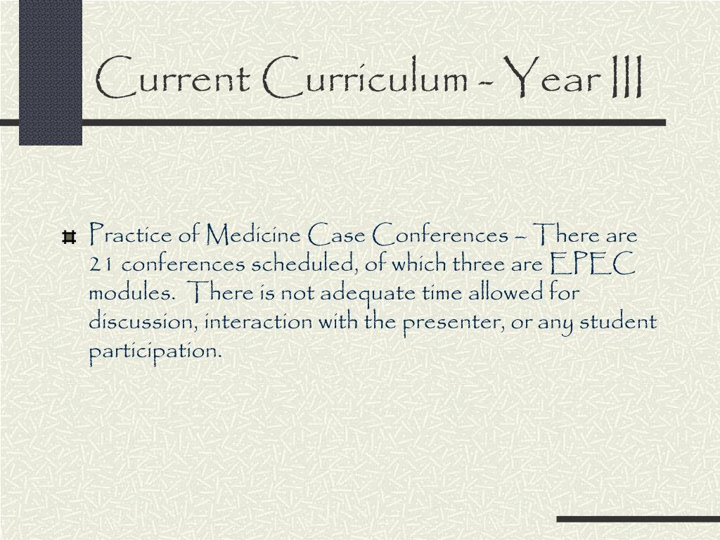 Current Curriculum - Year III