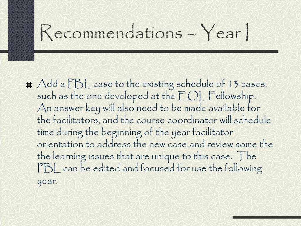 Recommendations – Year I
