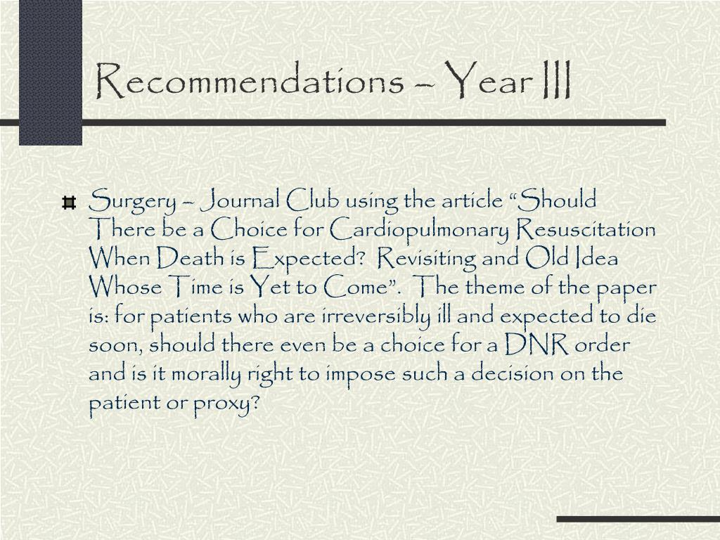 Recommendations – Year III