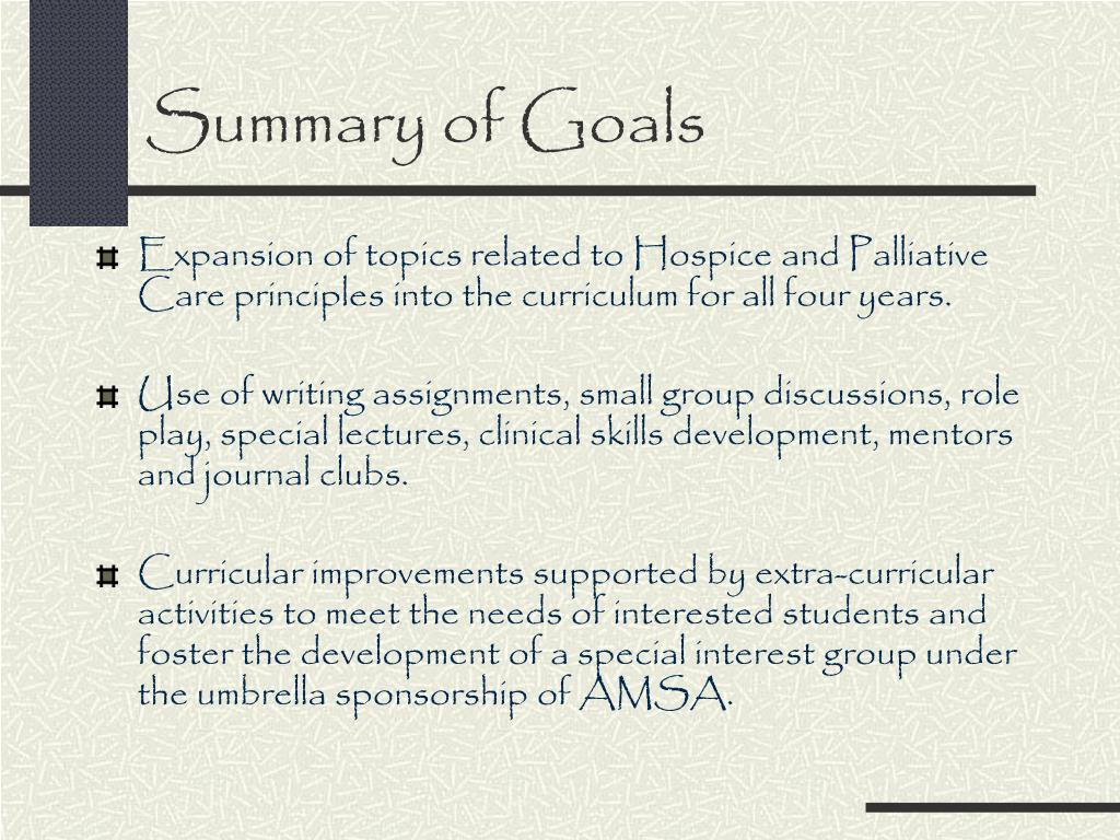 Summary of Goals