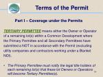 terms of the permit14