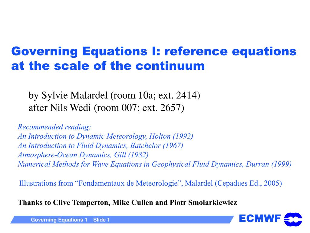 governing equations i reference equations at the scale of the continuum