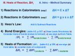 iii heats of reaction h r a intro method summary