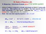 iii heats of reaction h r b measuring calorimeter example given c for entire system