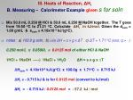 iii heats of reaction h r b measuring calorimeter example given s for soln