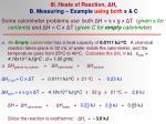 iii heats of reaction h r b measuring example using both s c