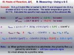 iii heats of reaction h r b measuring using s c