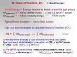 iii heats of reaction h r d bond energies