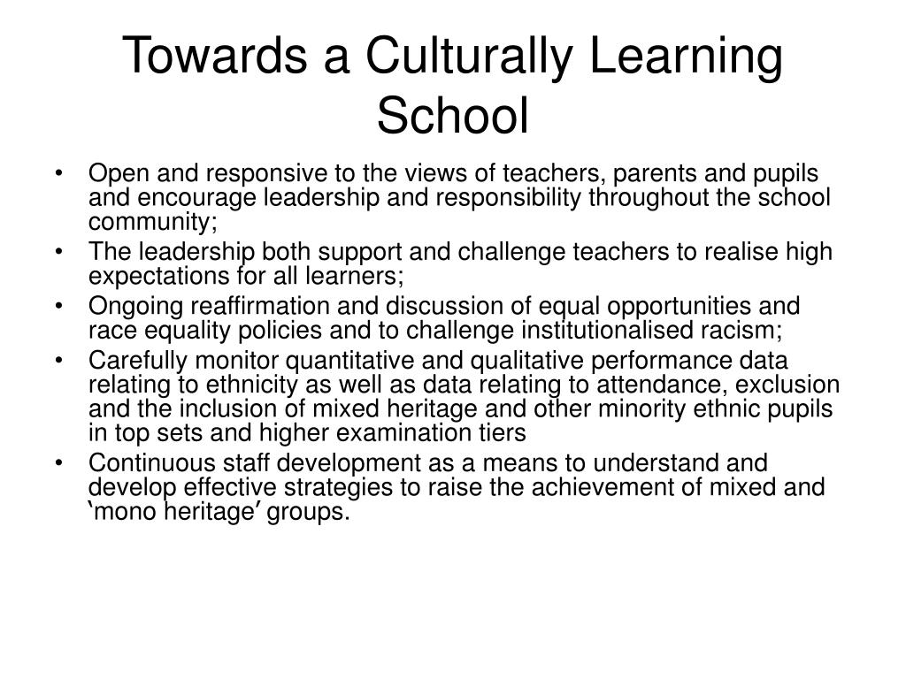 Towards a Culturally Learning School
