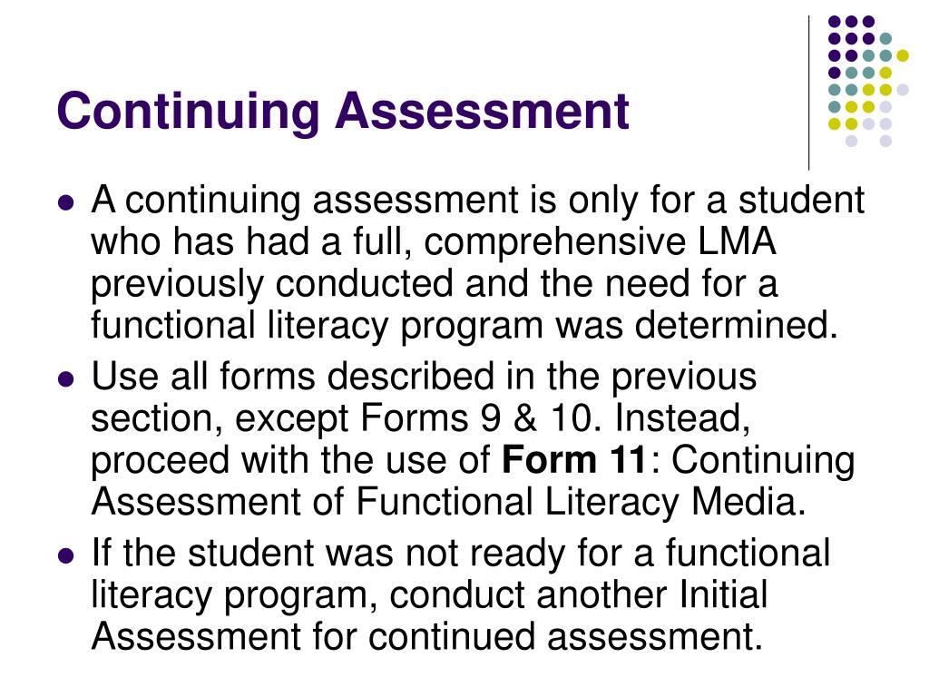 Continuing Assessment
