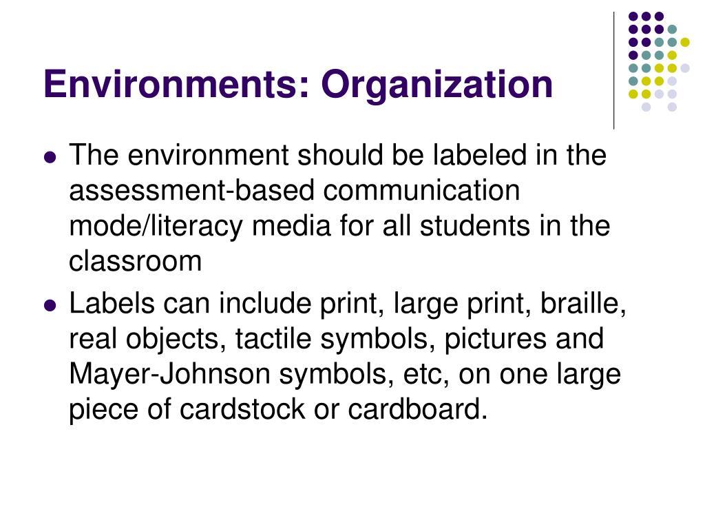 Environments: Organization