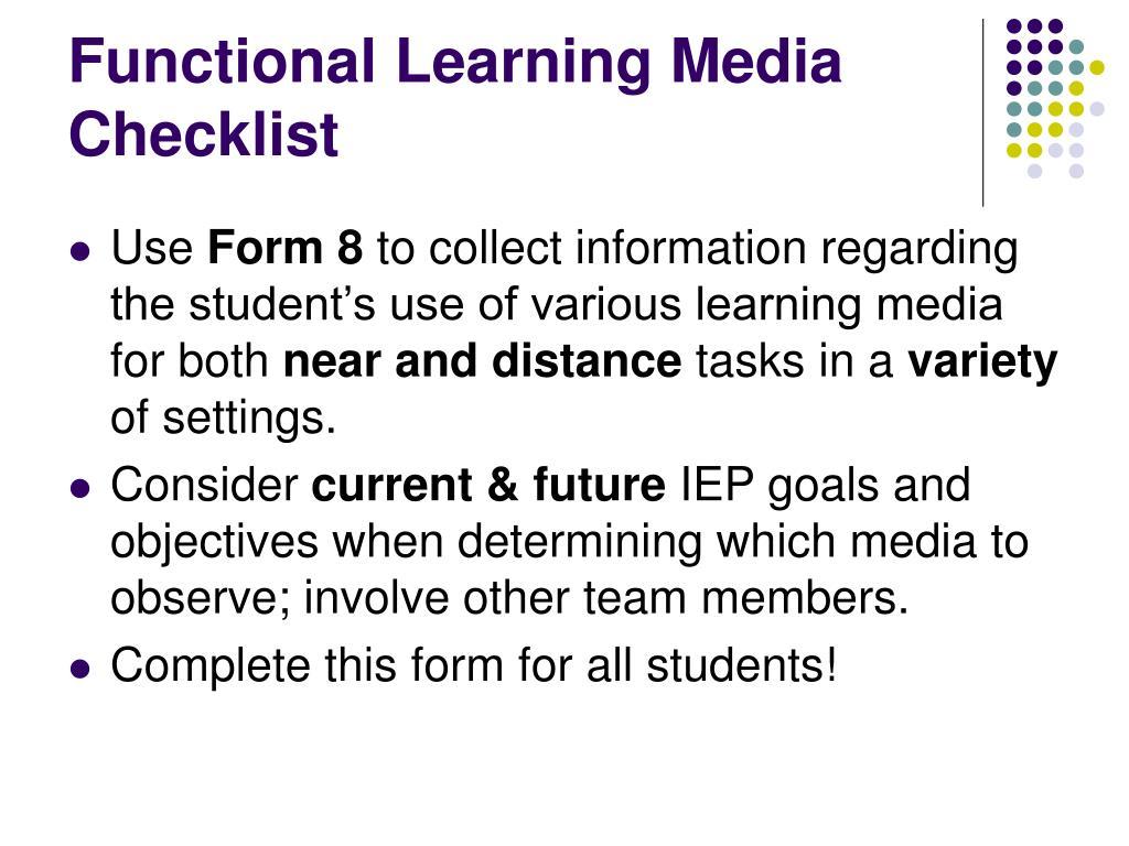 Functional Learning Media Checklist