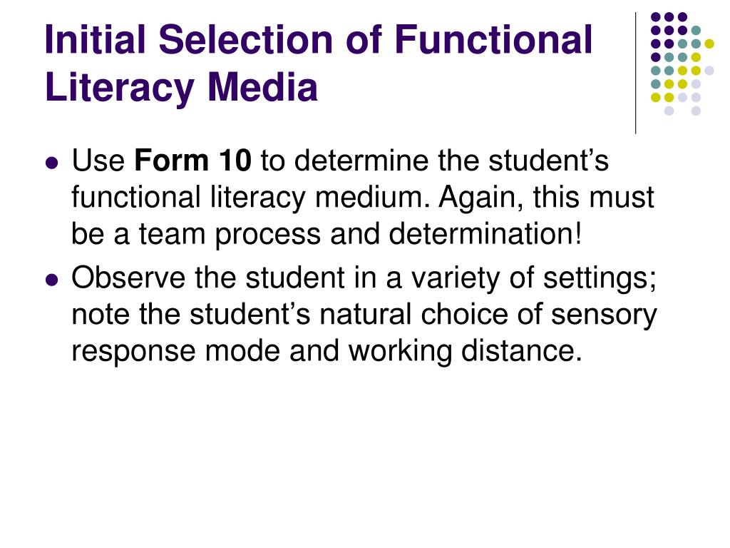 Initial Selection of Functional Literacy Media