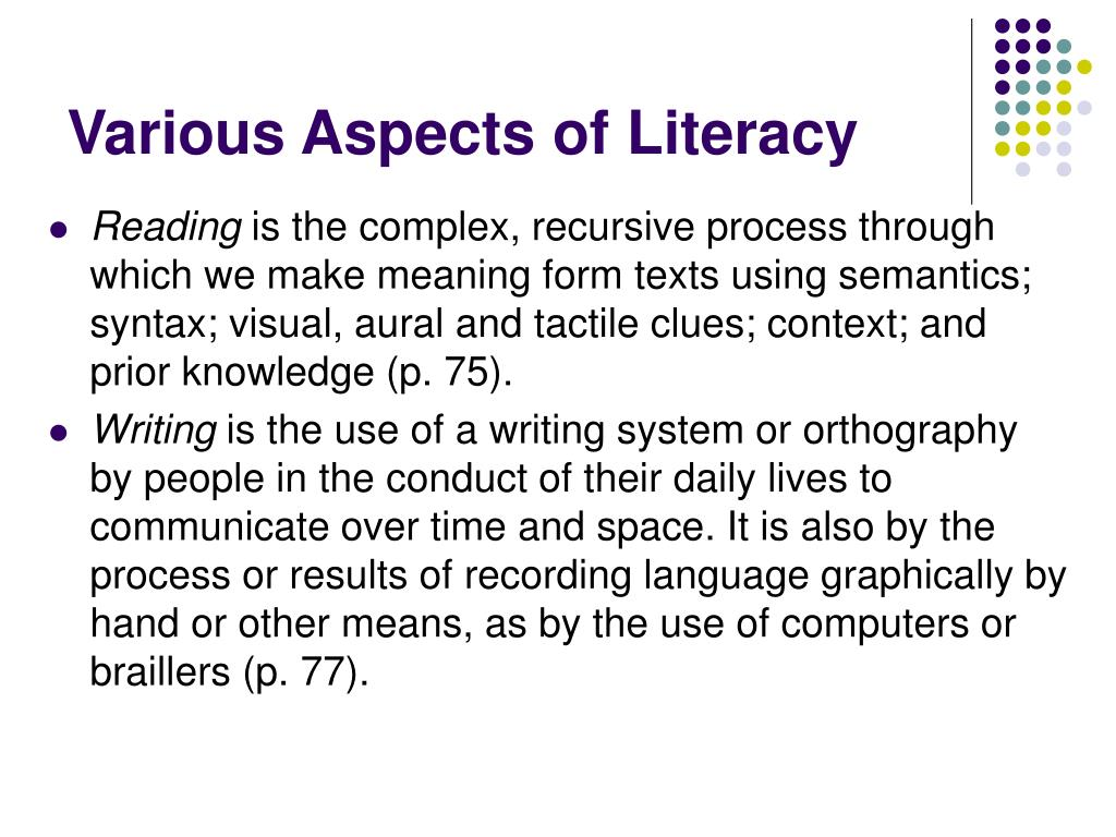Various Aspects of Literacy