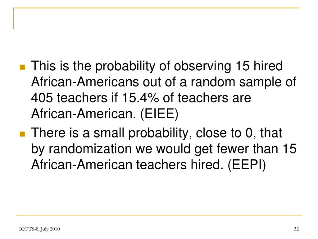 This is the probability of observing 15 hired African-Americans out of a random sample of 405 teachers if 15.4% of teachers are African-American. (EIEE)