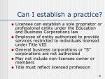 can i establish a practice