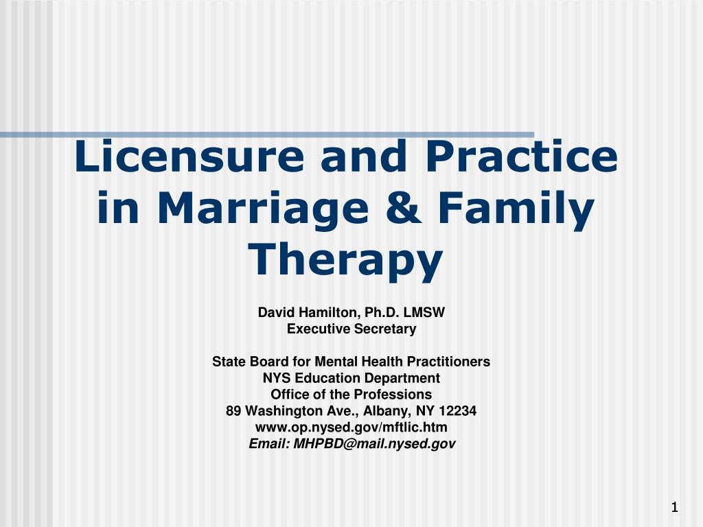 licensure and practice in marriage family therapy l.