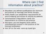 where can i find information about practice