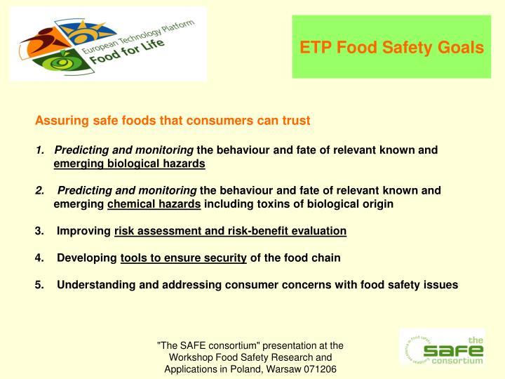 ETP Food Safety Goals