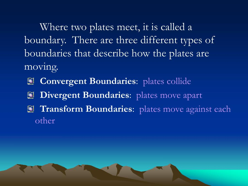 Where two plates meet, it is called a boundary.  There are three different types of boundaries that describe how the plates are moving.