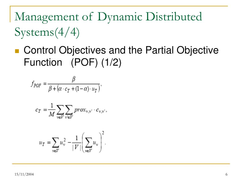 Management of Dynamic Distributed Systems(4/4)