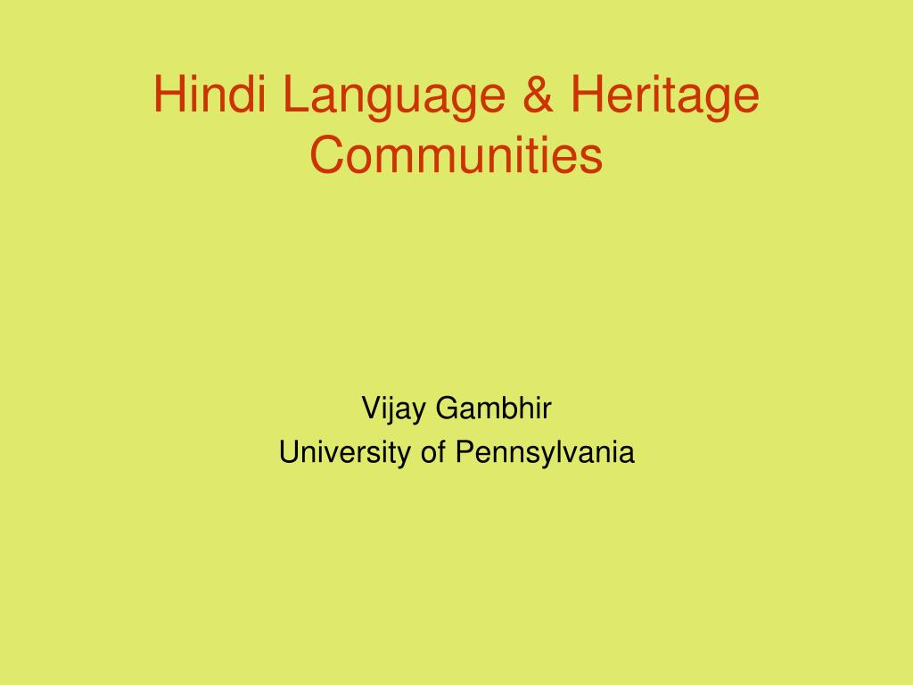 hindi language heritage communities