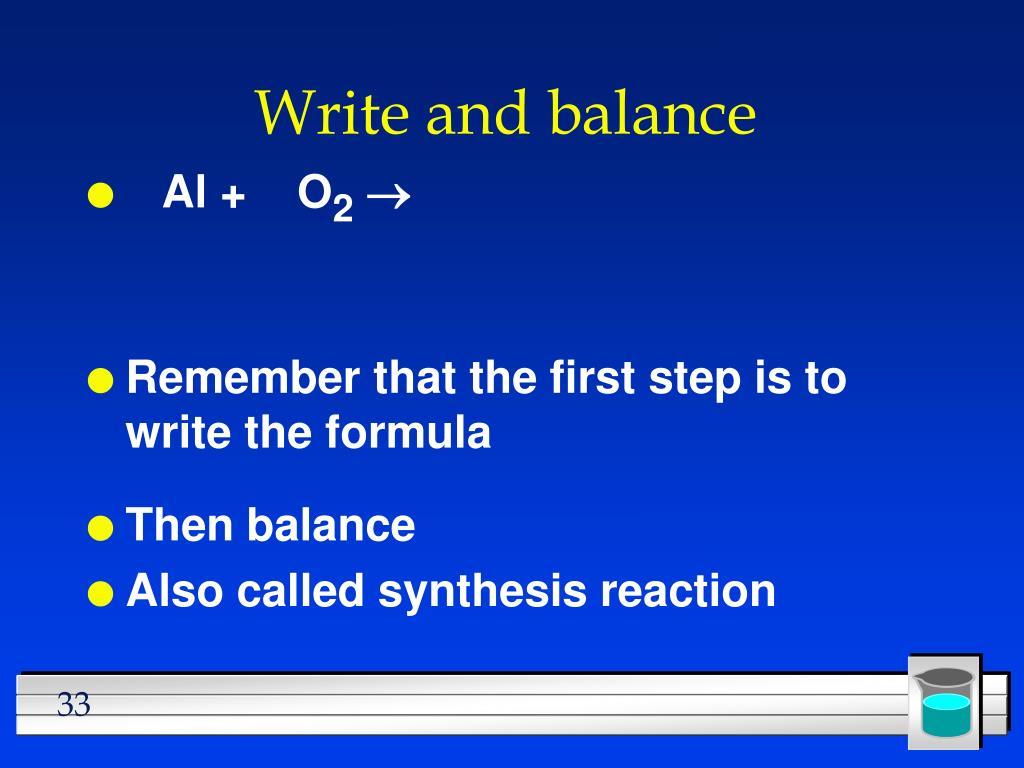 Write and balance