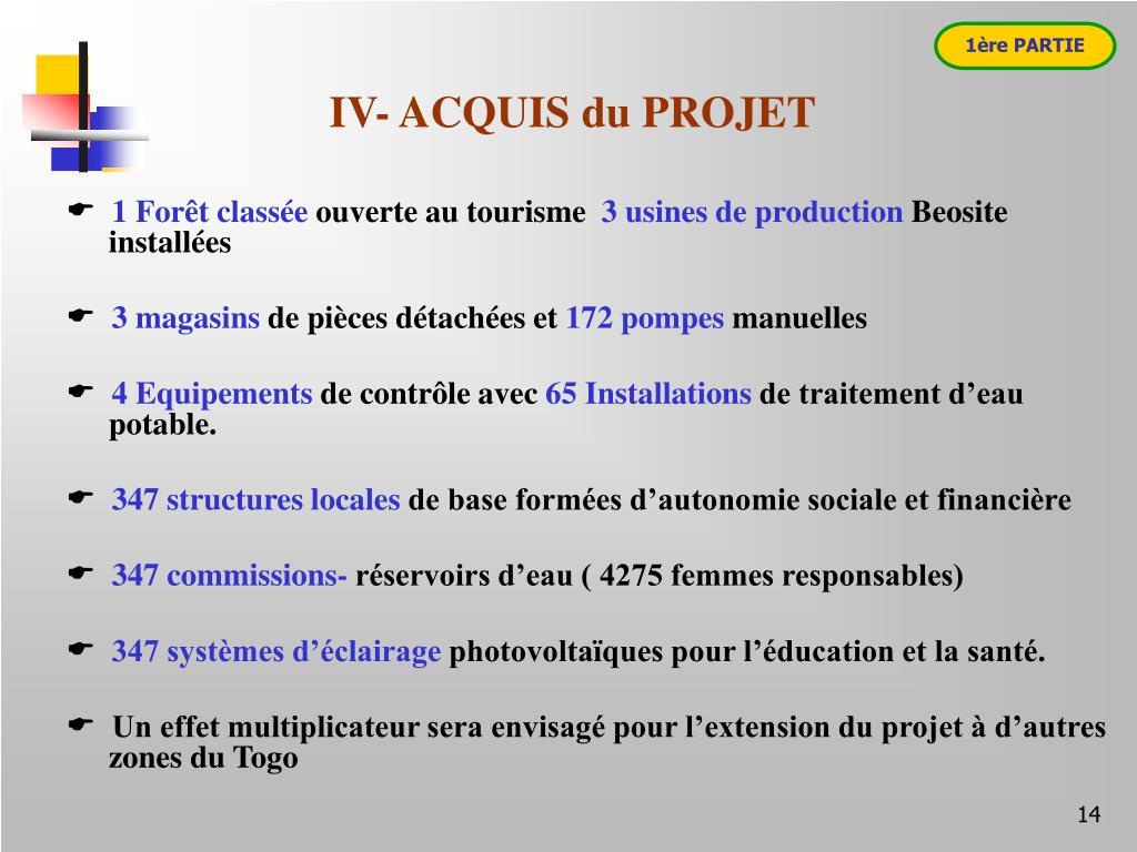 IV- ACQUIS du PROJET