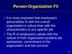 person organization fit