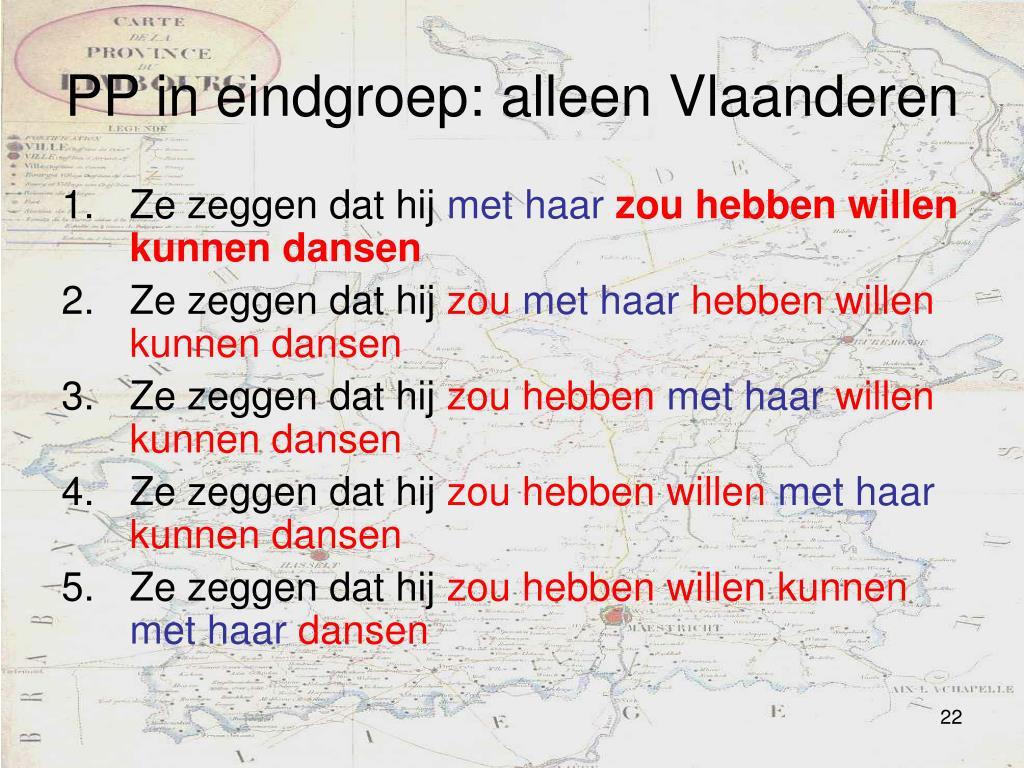 PP in eindgroep: alleen Vlaanderen