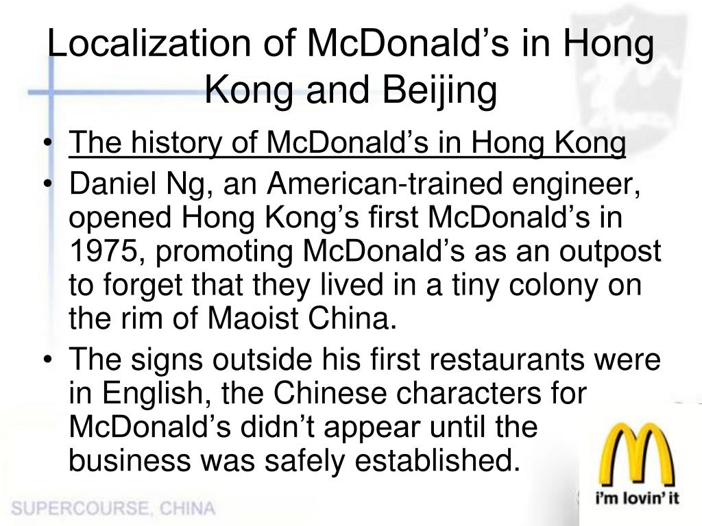 Localization of McDonald's in Hong Kong and Beijing
