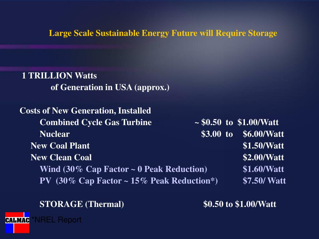 Large Scale Sustainable Energy Future will Require Storage